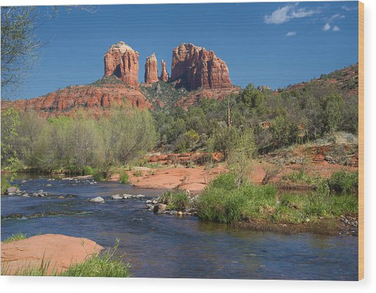 Cathedral Rock Viewed From Red Rock Crossing Wood Print