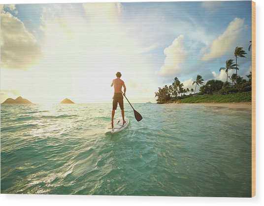 Caucasian Man On Paddle Board In Ocean Wood Print by Colin Anderson Productions Pty Ltd