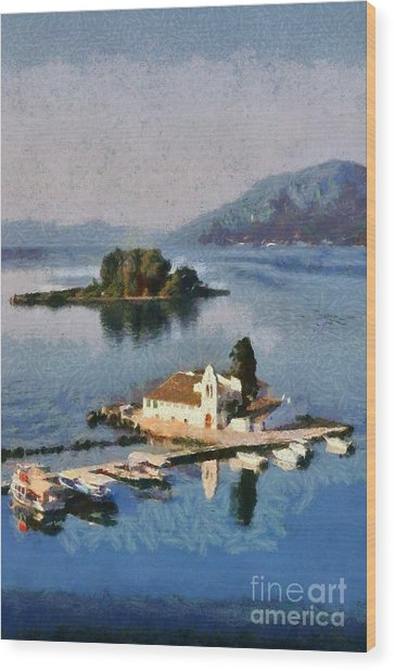 Panagia Vlachernon Monastery In Corfu Island Wood Print