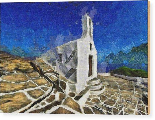 Chapel In Ios Island Wood Print
