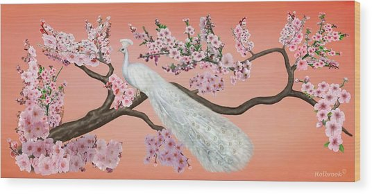 Cherry Blossom Peacock Wood Print