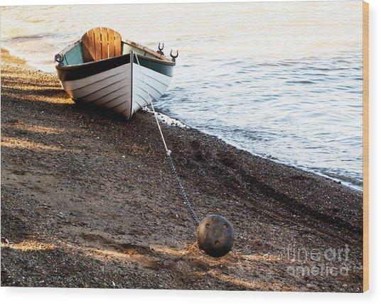 China Beach Rowboat Wood Print