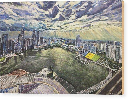City Around The River Wood Print