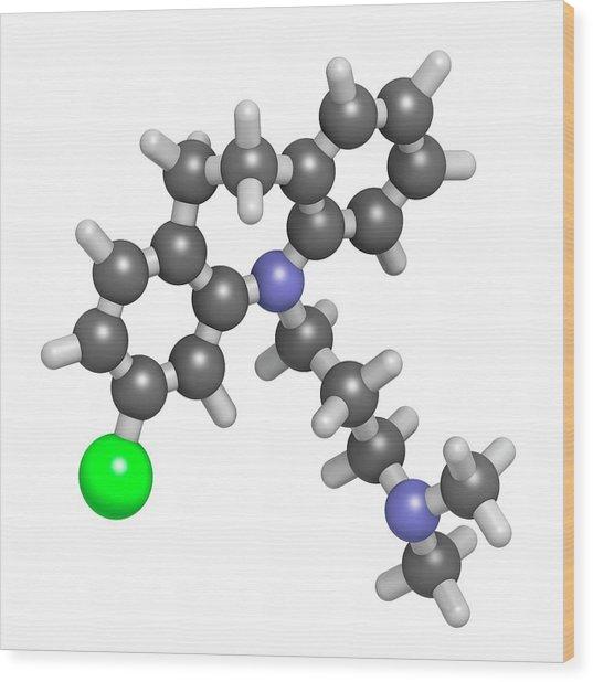 Clomipramine Tricyclic Antidepressant Wood Print by Molekuul