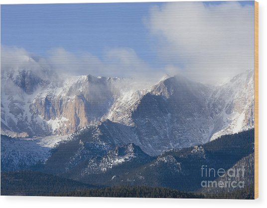 Cloudy Peak Wood Print