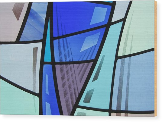 Coal Harbour Triptych Part 2 Wood Print by Gilroy Stained Glass