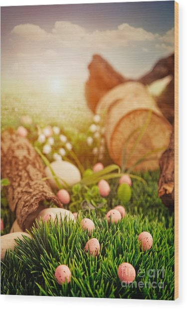 Colorful Easter  Wood Print by Mythja  Photography