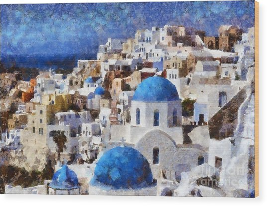 Colorful Oia In Santorini Island Wood Print