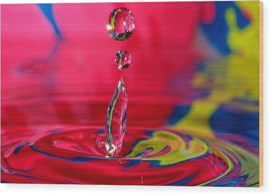 Colorful Water Drop Wood Print