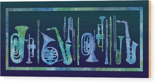 Cool Blue Band Wood Print