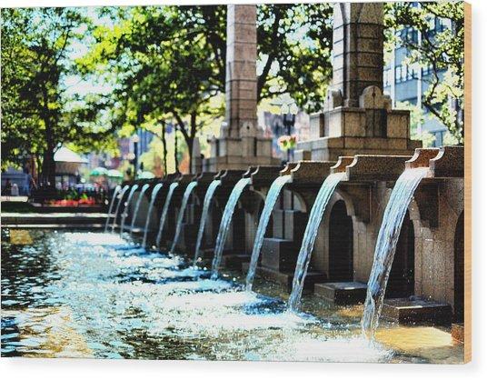 Copley Square Fountain In Boston Wood Print