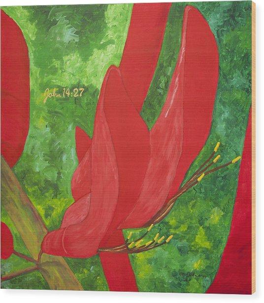 Coral Bean Tree Wood Print