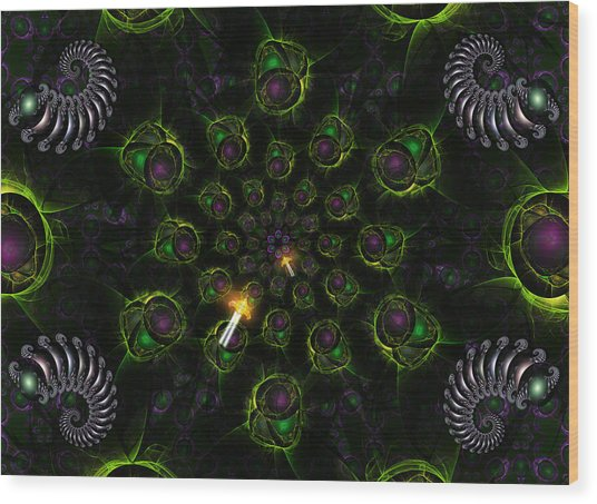 Wood Print featuring the digital art Cosmic Embryos by Shawn Dall