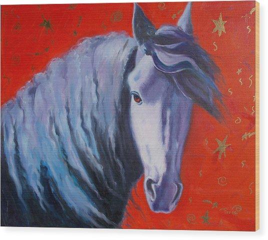 Cosmic Horse Wood Print by Pixie Glore