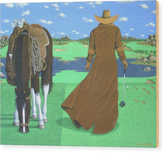 Cowboy Caddy Wood Print