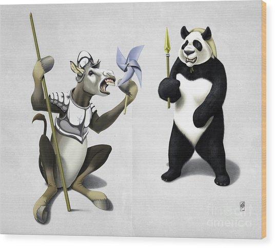 Donkey Xote And Sancho Panda Wordless Wood Print