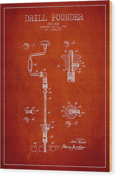Drill Pounder Patent Drawing From 1922 Wood Print