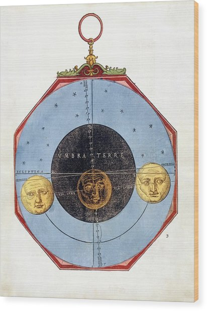 Eclipse Wheel Chart Wood Print by Royal Astronomical Society/science Photo Library