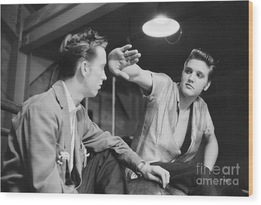 Elvis Presley And His Cousin Gene Smith 1956 Wood Print