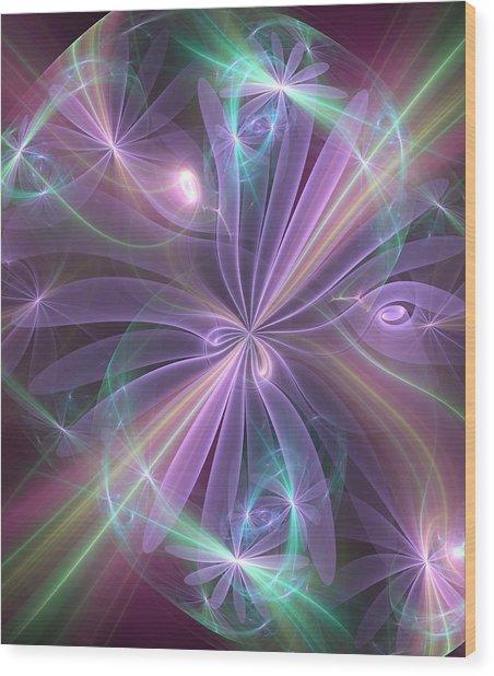 Ethereal Flower In Violet Wood Print