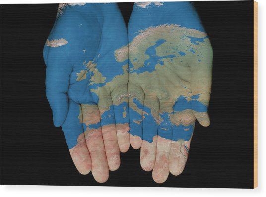 Europe In Our Hands Wood Print