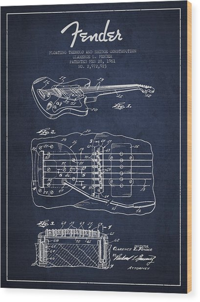 Fender Floating Tremolo Patent Drawing From 1961 - Navy Blue Wood Print