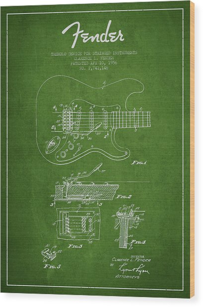 Fender Tremolo Device Patent Drawing From 1956 Wood Print