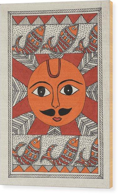 Festive Sun Wood Print by Neha Dasgupta