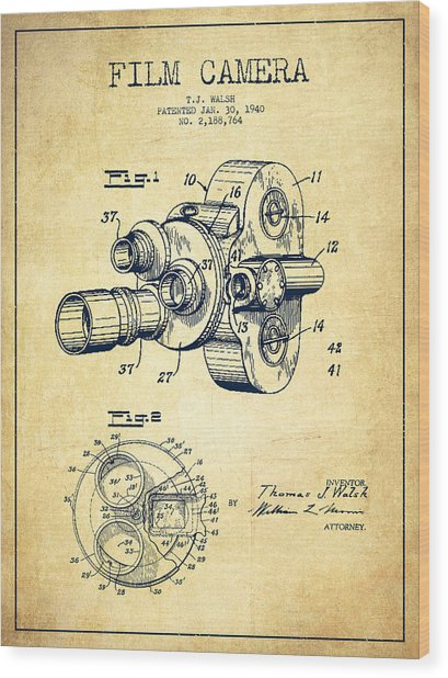 Film Camera Patent Drawing From 1938 Wood Print