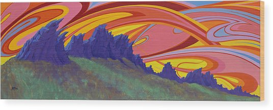 Fire Sky Over Devil's Backbone Wood Print