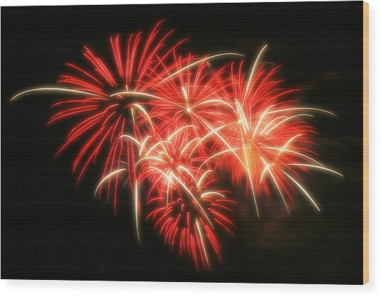 Fireworks Over Kauffman Stadium Wood Print