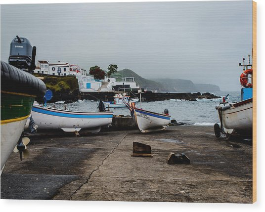 Fishing Boats On Wharf With View Of Houses  Wood Print