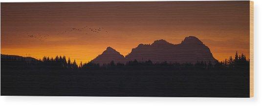 Flight To Saddle Mountain Wood Print