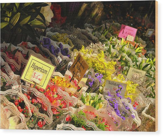 Flowers For Sale Wood Print