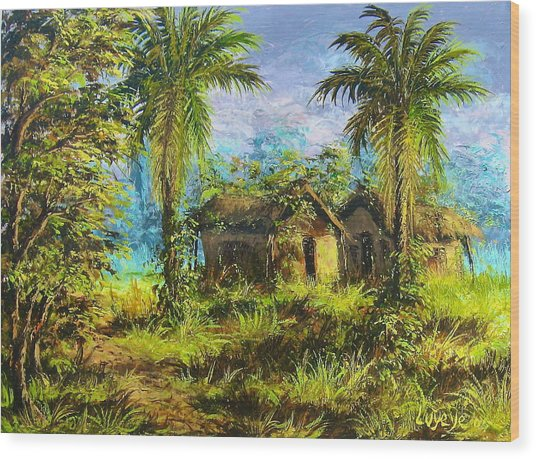 Forest House Wood Print
