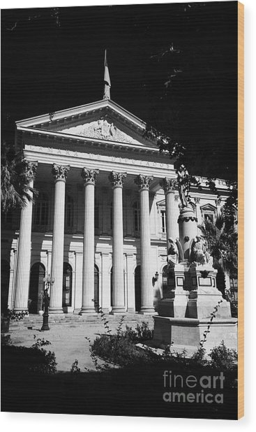 former national congress building Santiago Chile Wood Print by Joe Fox