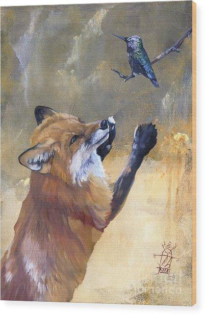 Fox Dances For Hummingbird Wood Print