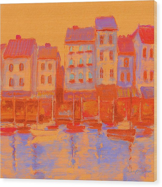 French Harbor Wood Print