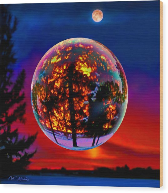 Full Moon Over New Richmond Sunset Wood Print