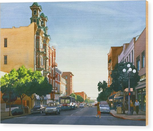 Gaslamp Quarter San Diego Wood Print