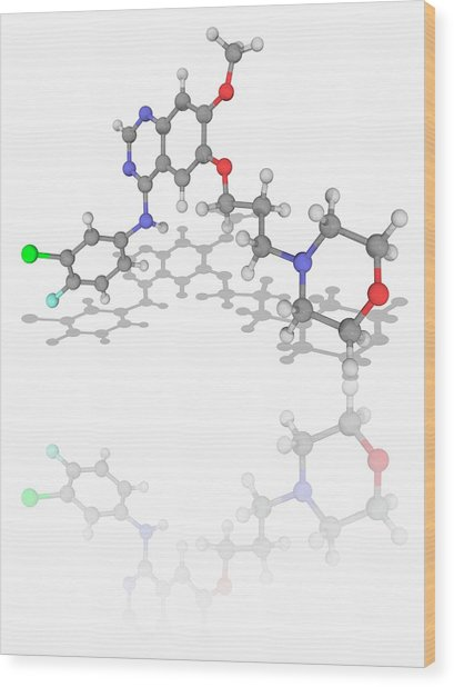 Gefitinib Drug Molecule Wood Print by Laguna Design/science Photo Library