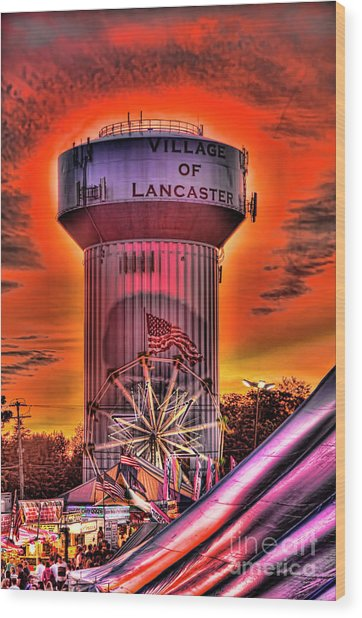 Glowing Water Tower Wood Print
