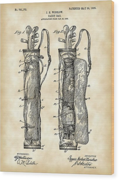 Golf Bag Patent 1905 - Vintage Wood Print