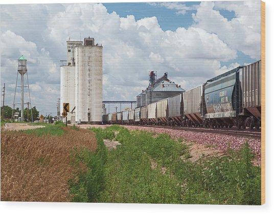 Grain Elevators And Railway Wood Print by Jim West