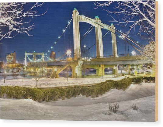 Hennepin Avenue Bridge Wood Print by Jason Alexander