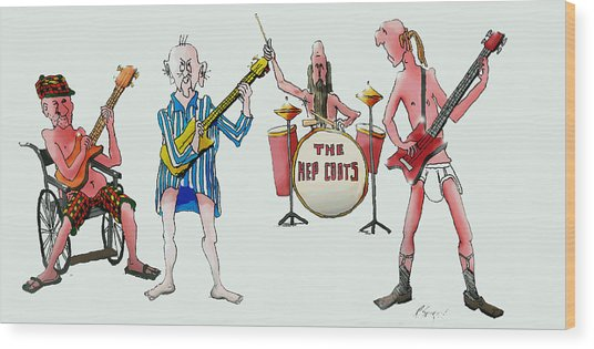 Sixties And Seventies Musicians Wood Print