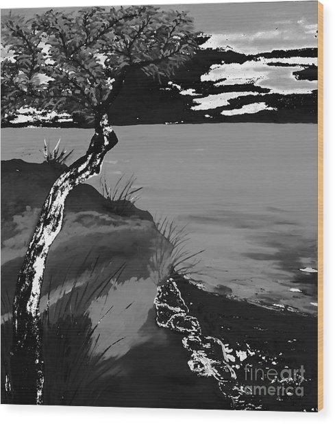 Horizon In Black And White Wood Print