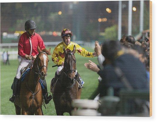 Horse Racing In Hong Kong - Happy Valley Racecourse Wood Print by Lo Chun Kit