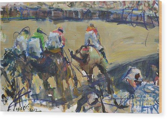 Horse Racing Painting Wood Print