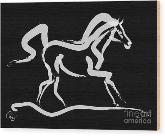 Horse-runner Wood Print